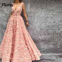 Fancy African Sexy Pink Evening Dresses Dubai Arabic Pageant Party Dress Muslim Turkish Kaftans Formal Prom Gowns Robe de soiree