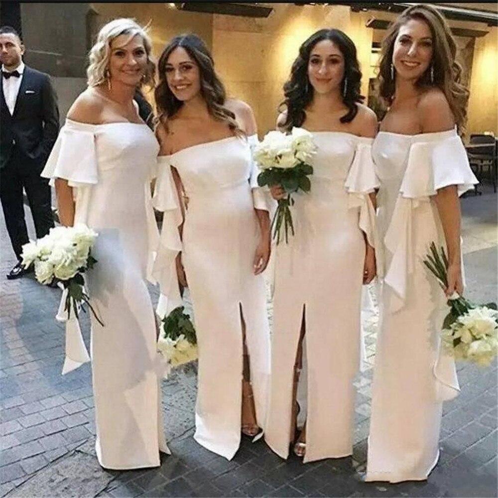 Elegant White Bridesmaid Dresses Boat Neck Off The Shoulder Straight Front Split Long Wedding Guest Gowns 2019 Cheap Women Dress