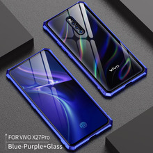 For VIVO X27 Pro Case X27Pro Bumper Metal Aluminum Frame Cover with Tempered Glass Back for Vivo glass case