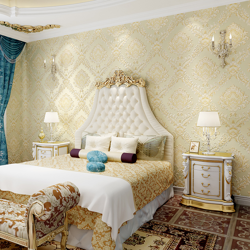 Classic European Florals Stripes Wall papers Home Decor Embossed 3D Damask Wallpaper Roll Bedroom Living Room Sofa TV Background