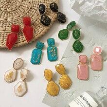 Bestessy Big Stone Crystal Flower Statement Earrings Women Handmade Beads Dangle Drop Earrings Wedding Large Jewelry недорого