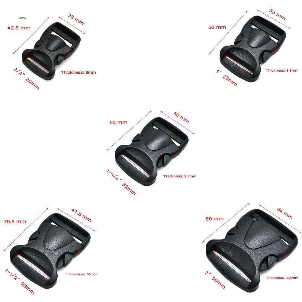 1pcs 20mm 25mm 32mm 38mm 50mm Side Release Gesp Plastic Gebogen Rugzak Webbing zak Onderdelen