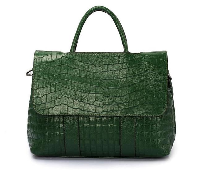 Luxury Handbags Alligator Crossbody bags for Women 2018 Ladies Genuine Leather  Bag Female Large Tote Bag Green Briefcase B103-in Top-Handle Bags from ... 65f0384d62
