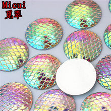 Micui 30PCS 25mm AB Clear Round Fish Scale Resin Rhinestone Crystal Stone  beads flatback For Clothing crafts Decoration ZZ562 97f161f63973