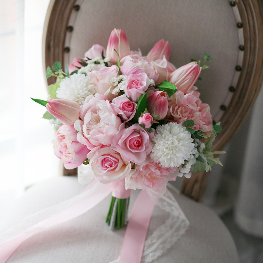 Wedding Bridal Flowers Pink Tulip Rose Bouquet Table Centrepiece