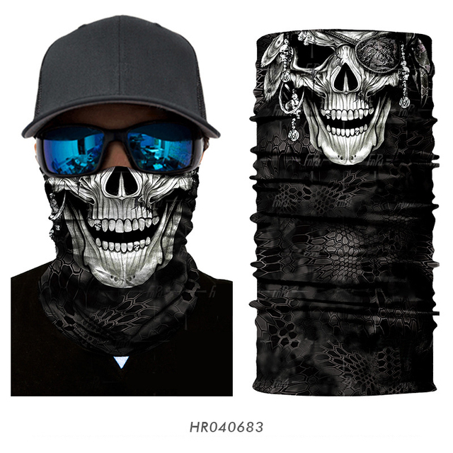 3D Seamless Ghost Skull Skeleton Head Bandana  5