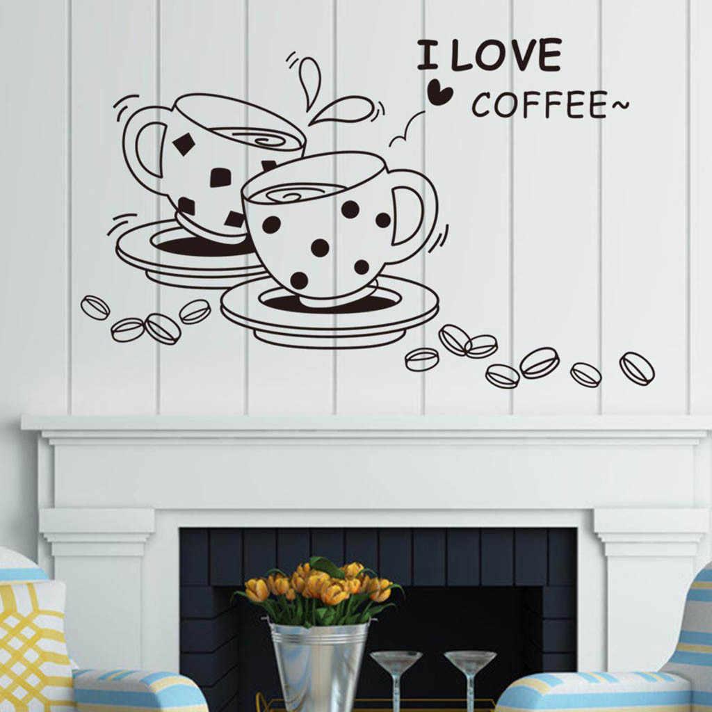 Dapur Stiker Dinding Masakan Kopi Stiker Vinyl Poster Dekorasi Rumah Aksesoris Dekorasi Lukisan Dinding Wallpaper DIY 3D TV Seni