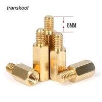 Travesseiros de bronze de cobre m2.5/m3/m4  parafusos para placas pcb espaçador de circuito  20 peças cabeça do cilindro/pilar hexagonal