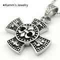 Fleur de lis Silver Black 316L stainless steel Pendant Necklace Cross Gifts christmas Wholesale Charms punk music rock KP029
