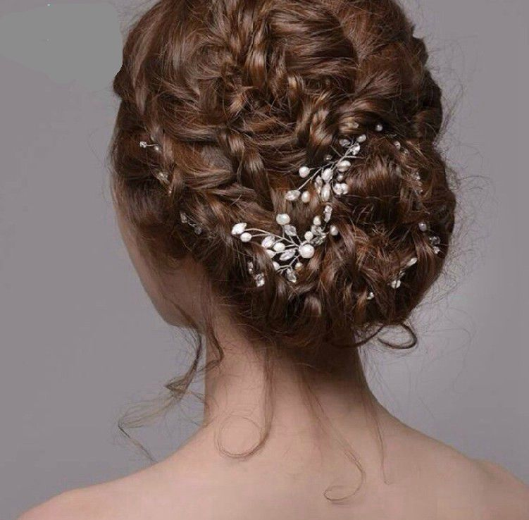 6pcs Pearl Rhinestone Hair plug wedding s