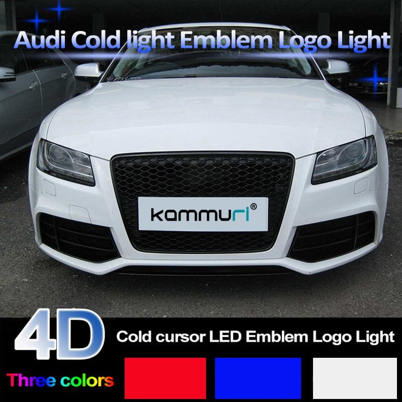 KAMMURI 4D lumière Froide Avant Arrière badge Emblème Lumière pour Audi A1 A3 A4 A5 A6 A7 Q3 Q5 Q7 TT R8 100 calandre badge Logo Lumière