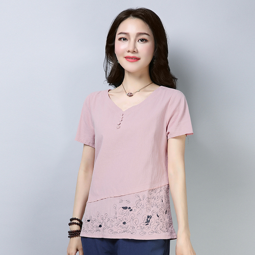 Cotton And Linen Short Sleeve Loose Women Blouses Plus Size Artistic Womens Clothing Print 3xl Casual Women Tops 2