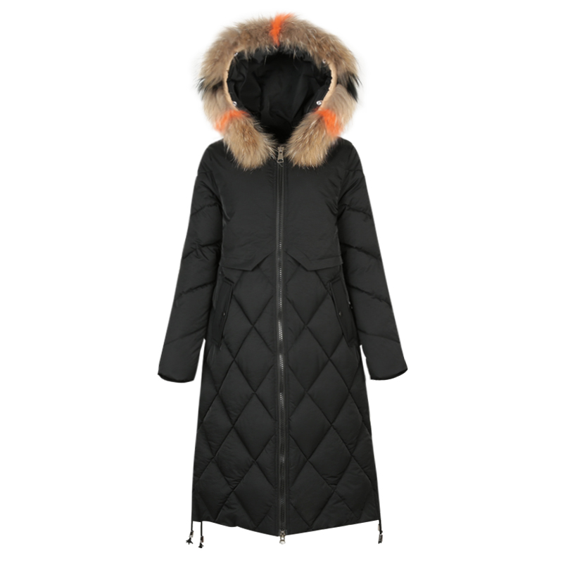 KMETRAM Winter Jacket Women Fur Collar Hooded Coats Female Wide Waisted Long Parka Black Thick Jackets Parkas Mujer 2019 MY350