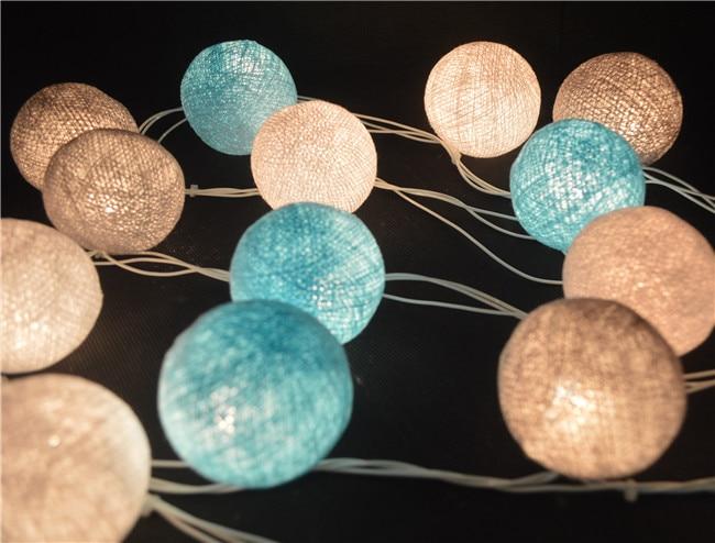 buy coastal beach tone 20pcs set cotton ball string lights fairy party wedding. Black Bedroom Furniture Sets. Home Design Ideas