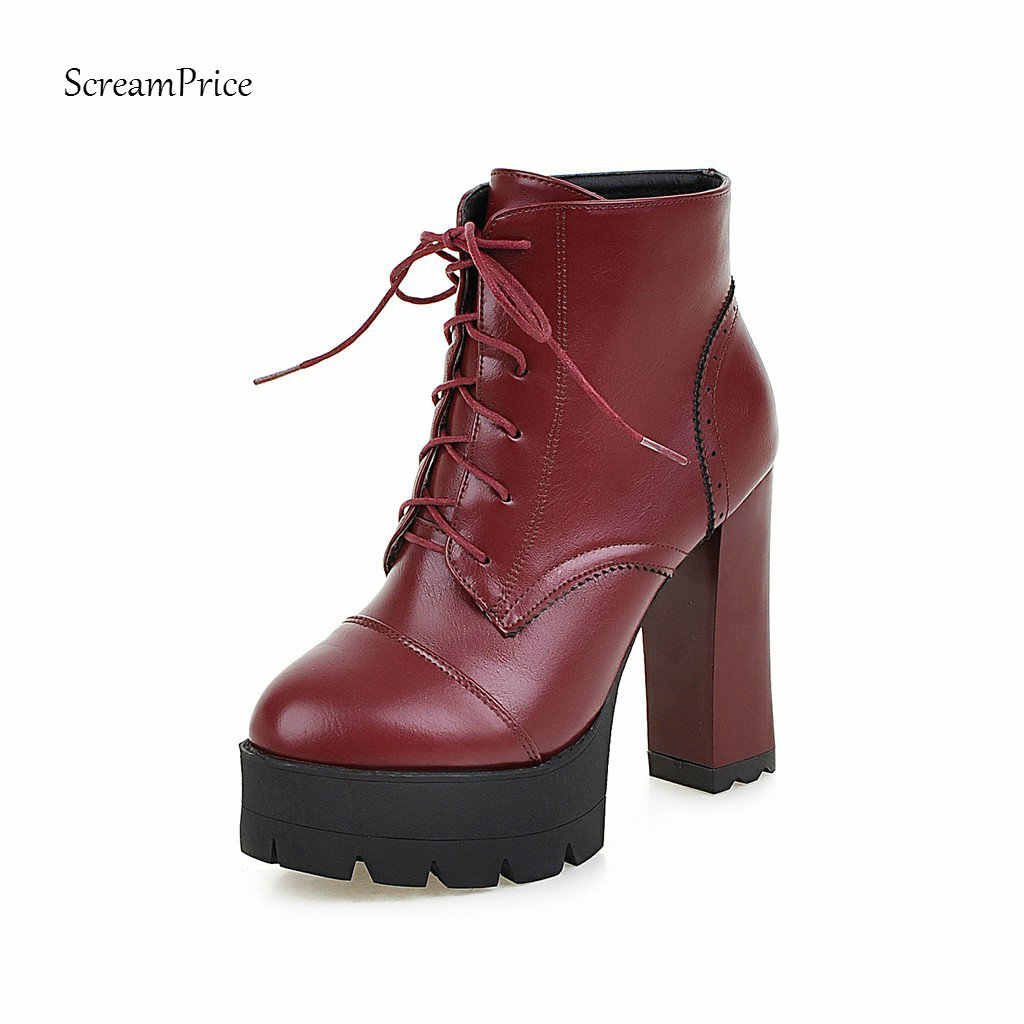 Kadın Moda Platformu Çizmeler Kalın Yüksek Topuk yarım çizmeler Pu Deri Lace Up Sonbahar Kış Kadın Ayakkabı 2018 Siyah Beyaz