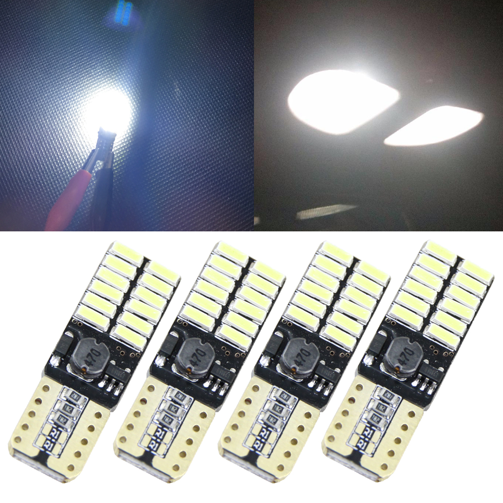 4x 12V 24V No polarity Canbus T10 LED bulbs with 4014SMD 24 leds Interior Wedge Light 194 168 W5W LED LAMP White Amber NO ERROR 2pcs lot bright double no error t10 led 194 168 w5w canbus 6 smd 5050 led car interior bulbs light parking width lamps