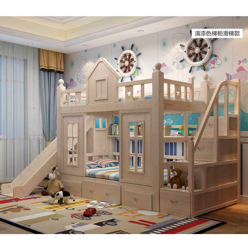 19  0128TB006 Fashionable kids bed room furnishings princess fortress with slide storages cupboard stairs double kids mattress HTB1X7hzo4HI8KJjy1zbq6yxdpXaw