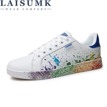 LAISUMK Hot Sale Spring Mens Casual Shoes Flat Lace-up Fashion Brand PU Leather Men White Loafers School Man