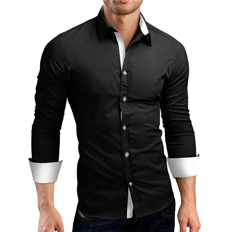 100% Wahr Kleid Shirt Männer Slim Fit Stil Männlichen Für Jungen Weiß Schwarz Casual Shirt Herren Langarm Raster Baumwolle Klassische Designer Marke 4xl
