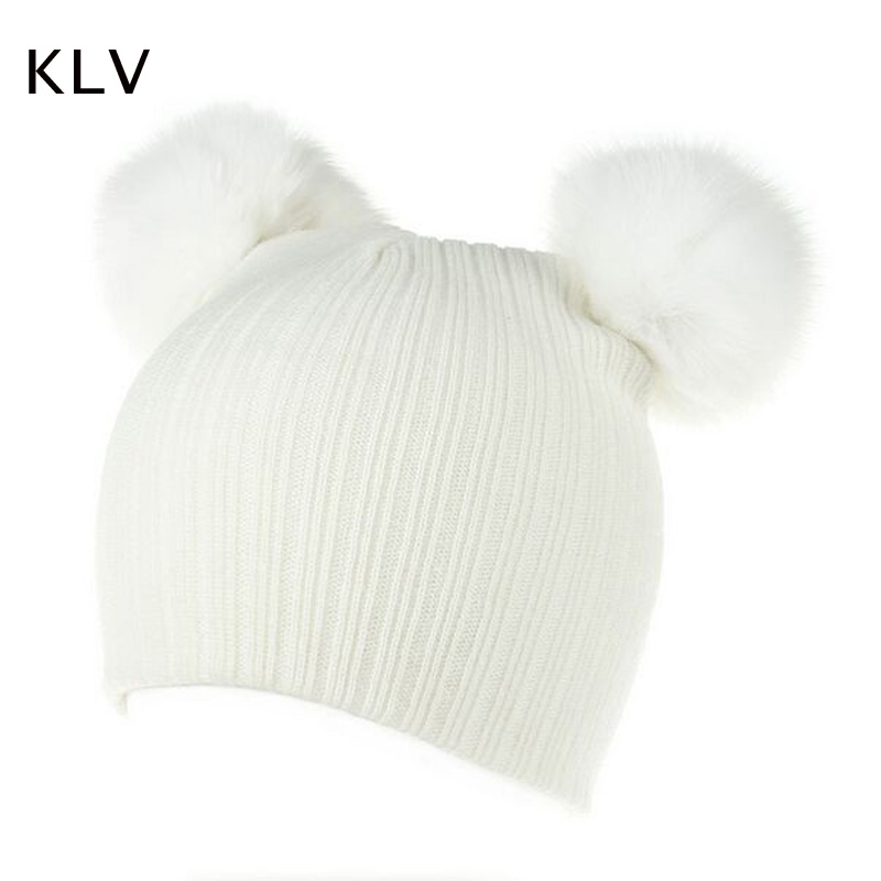 KLV Cute Girls Boys Beanie Cotton Winter Caps With 2 Real Fox Fur Pompom Kids Beanies Hat Knitted Baby Caps new star spring cotton baby hat for 6 months 2 years with fluffy raccoon fox fur pom poms touca kids caps for boys and girls