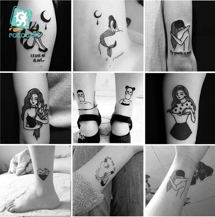 25 Sheets 6*6cm Different Black Small Couples Tattoos Design Sex Girl Boy Temporary Tattoo Sticker Body Art On Hands Fake Tatoo.