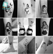 25 Sheets 6*6cm Different Black Small Couples Tattoos Design Sex Girl Boy Temporary Tattoo Sticker Body Art on Hands Fake Tatoo. such small hands