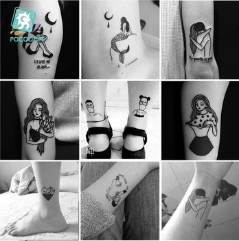 Small size 6x6cm Different Black Small Couples Tattoos Design Sex Girl Boy Temporary Tattoo Sticker Body Art on Hands Fake Tatoo such small hands