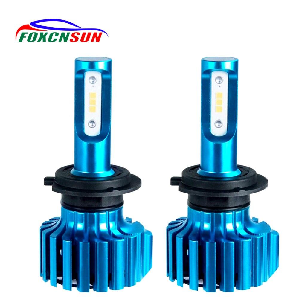 FOXCNSUN H15 LED Phare De Voiture H4 H7 Led Ampoules H1 H11 H8 HIR2 HB4 HB3 9006 9005 Auto Brouillard Lampe csp 12000LM 6500 k 12 v Mini Ampoule