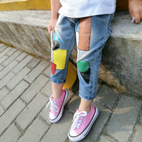 2018 New arrival Candy color jeans fashion color patch summer autumn kid jeans girls geometry jeans children clothing
