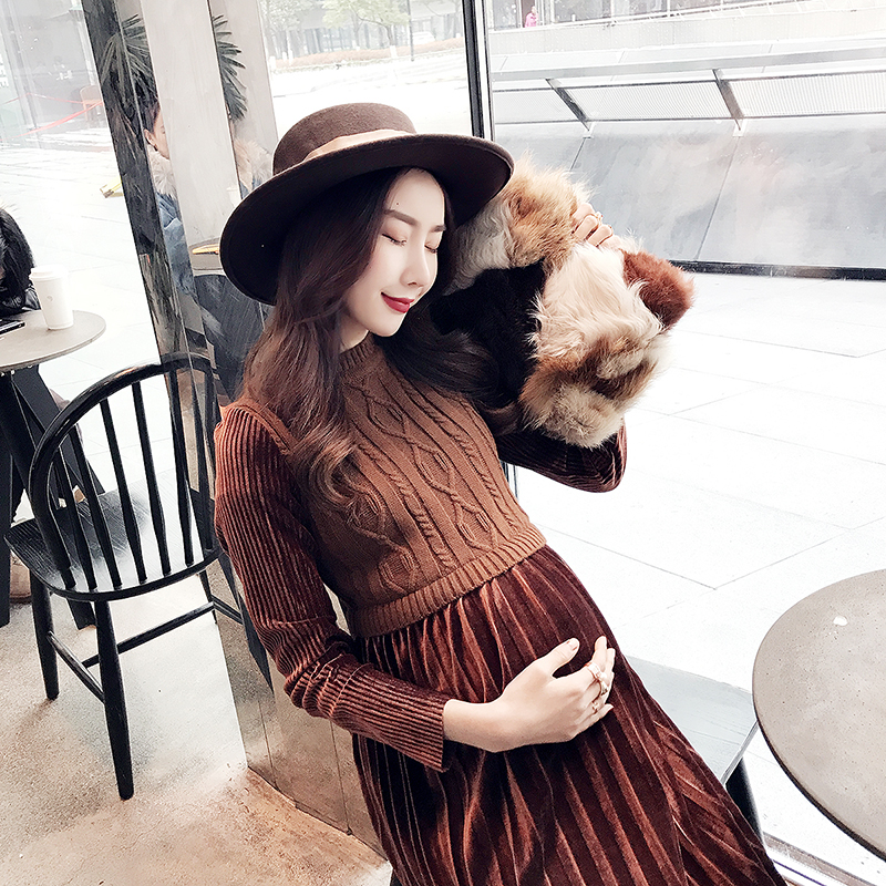 Fashion Autumn/winter Long skirt maternity Knitting dress Regnant women dress Fitness design Show thin Pregnant dress Платье