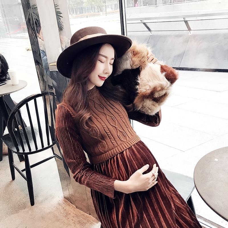 Fashion Autumn/winter Long Skirt Maternity Knitting Dress Regnant Women Dress Fitness Design Show Thin Pregnant Dress