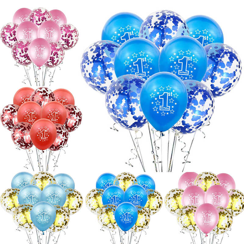 10 Pcs 12 Inch 1st Balon Pesta Ulang Tahun Dekorasi Anak