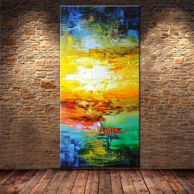 Hand Painted Abstract Thick Impasto Colorful Oil Painting on Canvas ...