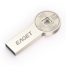 EAGET K80 USB 3.0 64GB 32GB 16GB USB 3.0 Flash Drives Fashion High Speed Metal Fashion Round ancient coins Metal waterproof Gift