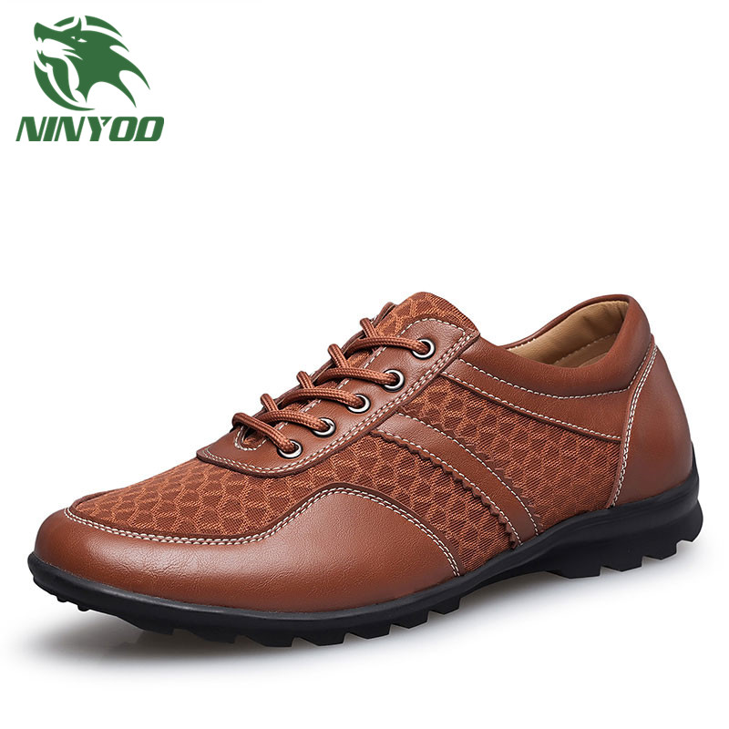 NINYOO New Summer Shoes Men PU Leather Casual Shoes Soft Breathable Shoes Big Size 46 47 48 Rubber Sole Student Fashion Shoes 37 topsell 2017 men women 3 casual shoes black red white solomons runs breathable shoes free shipping size 40 46 speedcros