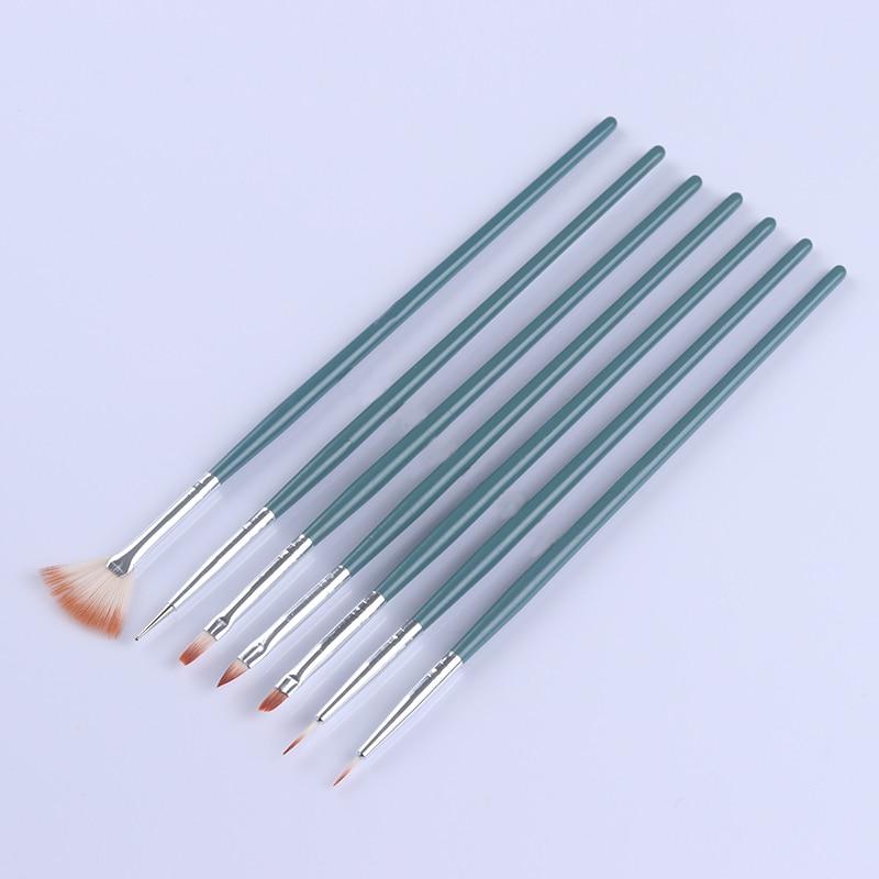 7Pcs Acrylic UV Gel Nail Brushes Set Gradient Painting Liner Brush Dotting Pen Green Wooden Handle UV Gel Nail Art Tool Kits ...