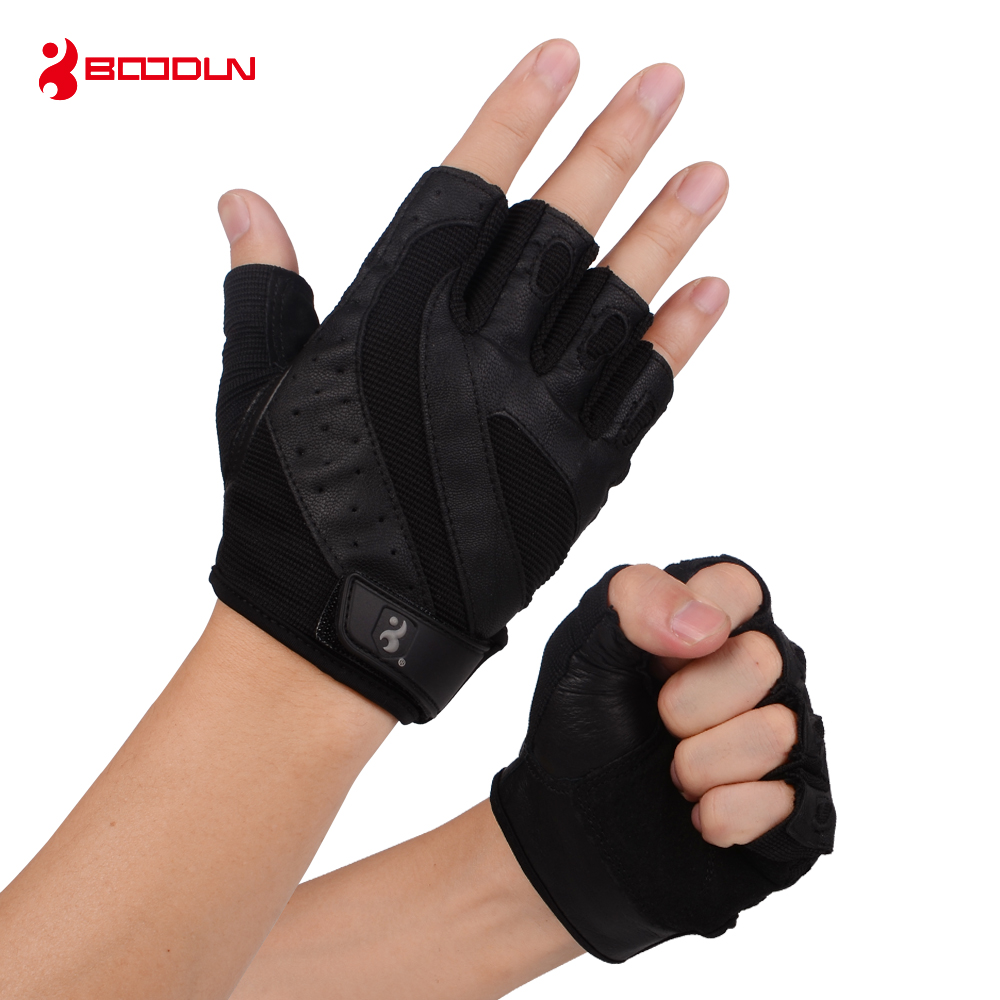 Genuine Leather Gym Weight Lifting Gloves Men Body Building Training Sports Fitness Exercise Pig Black Gloves Male