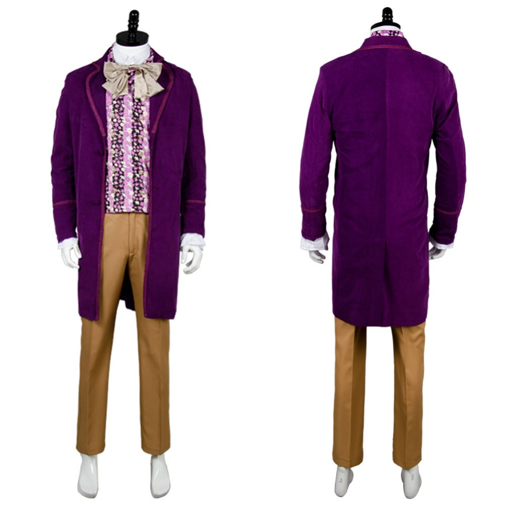 Willy Wonka and the Chocolate Factory 1971Uniform Purple Coat Jacket Vest Tie Movie Halloween Cosplay Costume For Men Custom