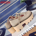 In the autumn of 2016 with thick soled shoes muffin Vintage buckle shoes shoes black color fringe round shoes b2