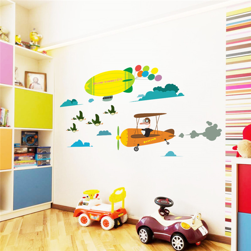 Colorful Kids Rooms: Colorful Aircraft Balloon Wall Stickers For Kids Rooms