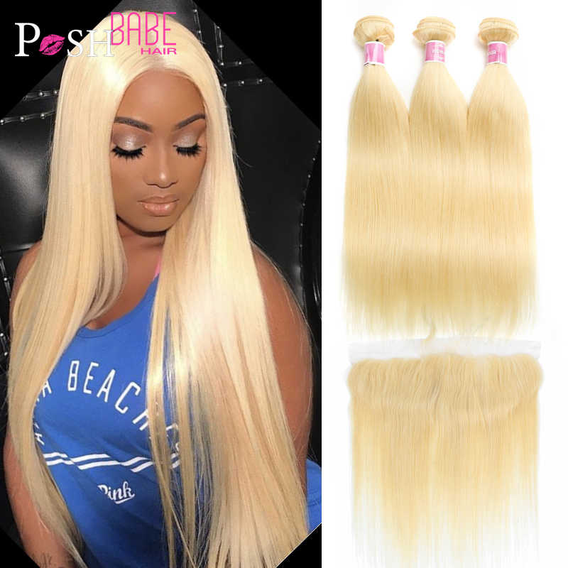 Honey Blonde 613 Color Remy Brazilian Hair Weave Straight Human Hair 2/3/4 Bundle with 1PC 13x4 Lace Frontal Closure Ear to Ear