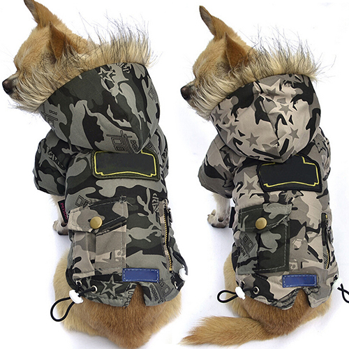 Pet Dog Cool Style Camouflage Winter Warm Cotton Padded Jacket Clothes
