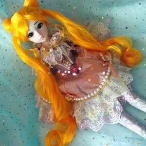 Парик BJD 9-10 BJD dd, парик куклы, потому что Сейлор Мун-желтый серебристый