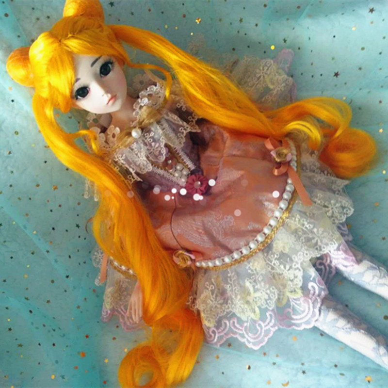 BJD Wig 9-10 BJD Dd Doll Wig Cos Sailor Moon - Yellow Silver