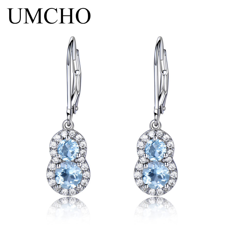 UMCHO 1.8CT Natural Sky Blue Topaz Gemstone Jewelry Earrings Real 925 Sterling Silver Drop Earrings Wedding Gift For Women