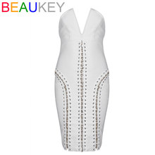 White 2017 Women's Party Strapless V Neck Dress Straps Cross Lacing and Metal Chains Adorn Bodycon Bandage Dress