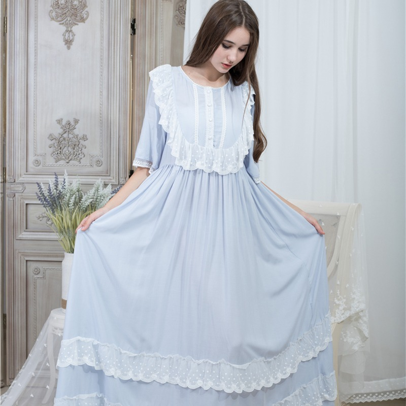 21576cdd2f21 Свободная ночная рубашка Для женщин шею ночные рубашки модные кружевные  Ночная рубашка в винтажном стиле домашняя