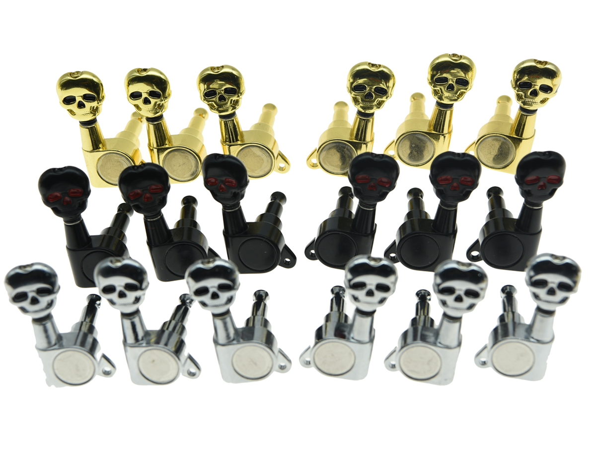 3 left 3 right sealed skull button guitar tuners 3l3r tuning keys pegs guitar machine heads 3. Black Bedroom Furniture Sets. Home Design Ideas