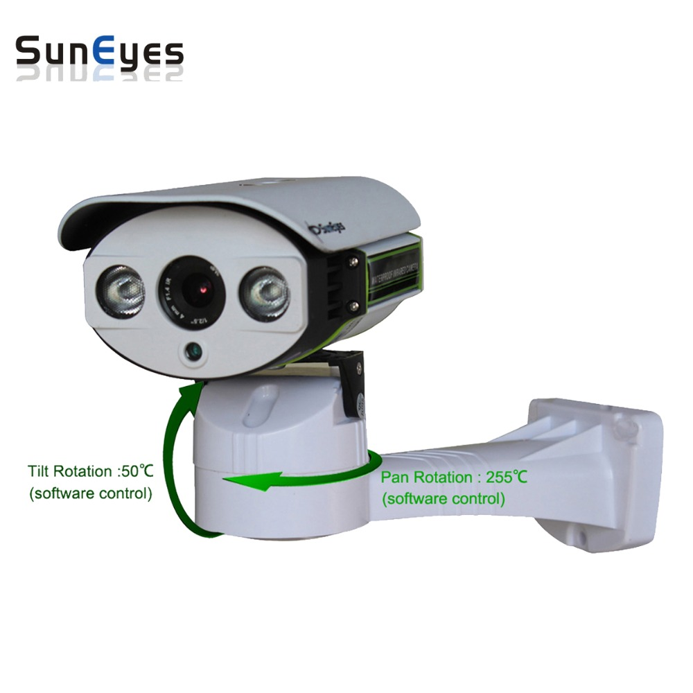 SunEyes SP-P703 Pan/Tilt IP Network Camera Outdoor ONVIF 720P HD with TF/Micro SD Slot Two Way Audio Pan Rotation Array IR suneyes sp p902wpt onvif 960p hd wireless pan tilt dome ip camera with tf micro sd card slot two way audio array ir low lux