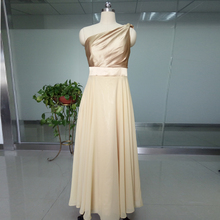 Gold Chiffon One Shoulder Sleeveless Wedding Party Dresses vestido de festa Long Cheap Bridesmaid Dresses For Party ASAB14